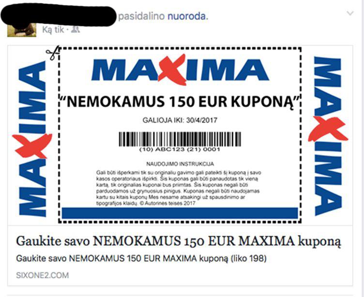 Maxima kupono virusas facebooke