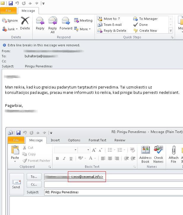 Internetinių sukčių laiškas